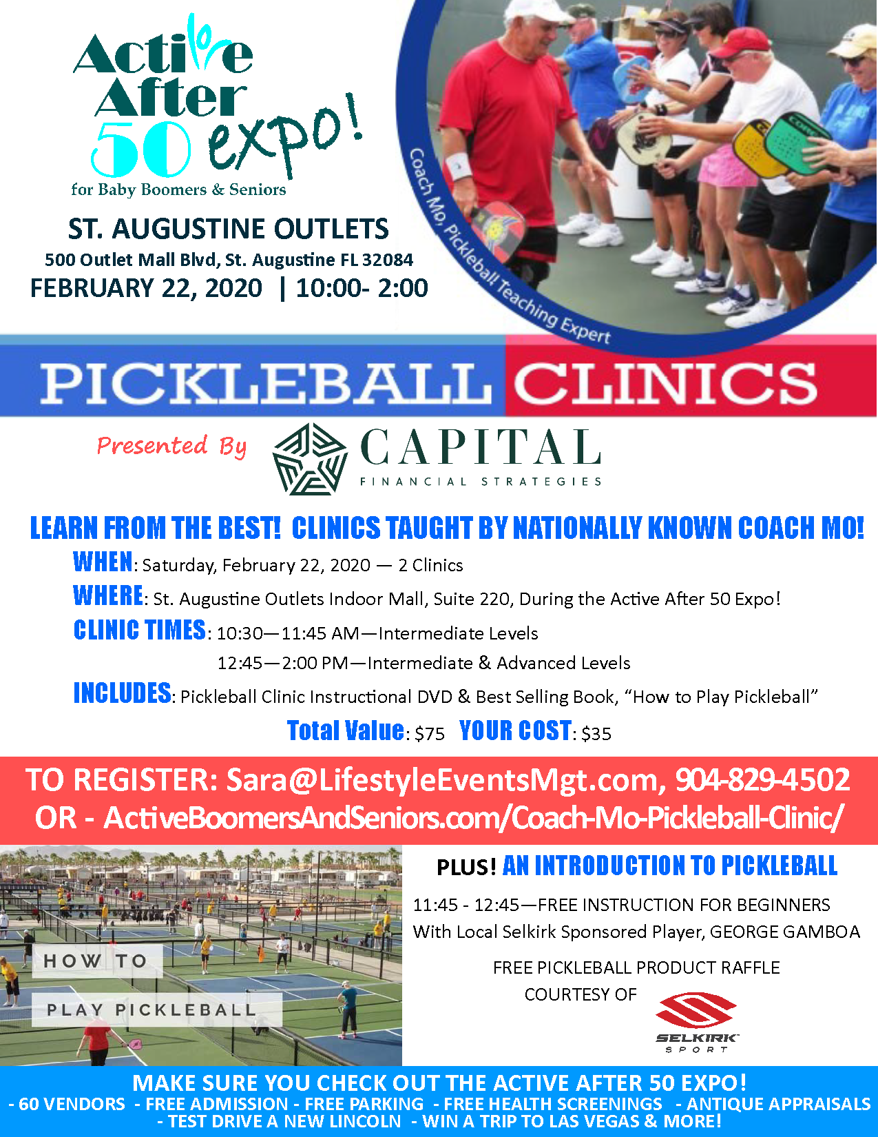 Coach Mo and George Gamboa St. Augustine Expo Pickleball Instruction Flyer