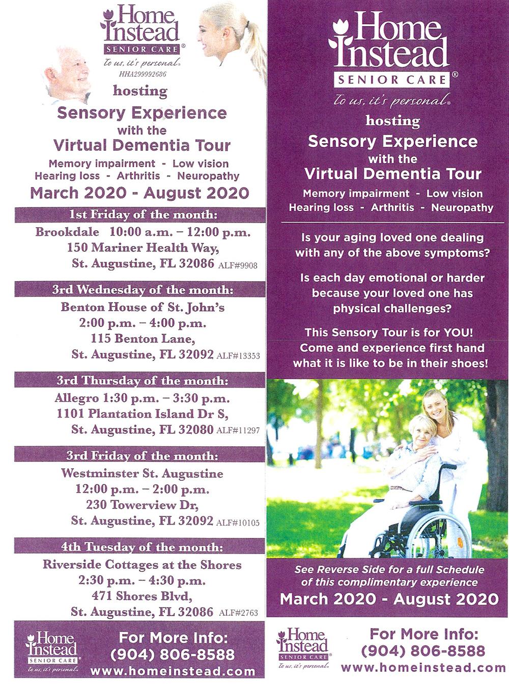 Home Instead Virtual Dementia Tour Flyer
